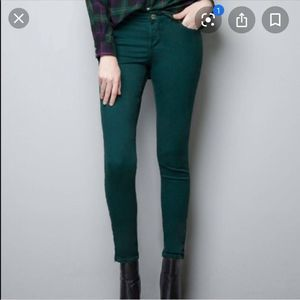 Zara Trafulac Emerald Green Skinny Jeans